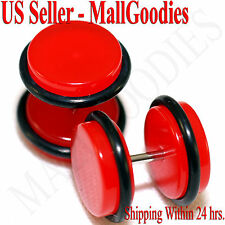 """2053 Red Color Fake Cheater Illusion Faux Ear Plugs 16G Bar 7/16"""" = 11mm - 2pcs"""