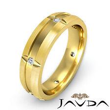 Bezel Round Diamond Mens Eternity Wedding Band 14k Yellow Gold Solid Ring 0.15Ct