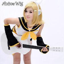 Cosplay Wig Perück Haarteil Vocaloid Kagamine Rin Gelb Blond Kurz Wellig