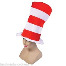 Red & White Striped Tall Top Hat Fancy Dress Cat In The Hat Adult Sized Hat