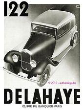 PUBLICITE AUTOMOBILE DELAHAYE 122 SIGNE RENE RAVO DE 1933 FRENCH AD CAR PUB RARE