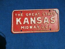ORIGINAL KANSAS THE GREAT STATE MIDWAY USA License VEHICLE Tag Man Cave