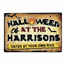 Halloween Party Metal Sign Personalised - Horror Warning Sign - Party sign - Lar