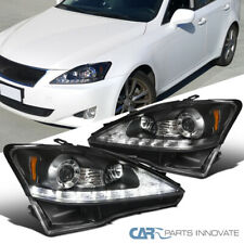 Fit 06-09 Lexus IS250 IS350 Replacement Black SMD LED Strip Projector Headlights