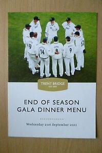 2011 END OF SEASON GALA DINNER MENU- Nottinghamshire County Cricket Club Awards