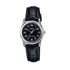 Casio LTP-V001L-1BUDF Black Leather Watch for Women