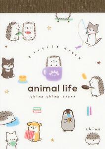 "Kamio Animal Life (Hedgehog, Penguin) Mini Memo / Notepad (""A Little Dream"")"