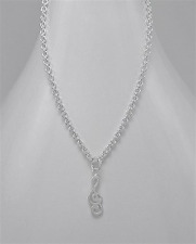 """925 Sterling Silver Treble Clef Necklace 19"""""""