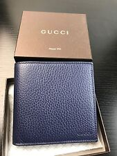 NWT Authentic GUCCI Men's Bi Folded Wallet With Coin Pocket In Blue Leather