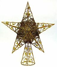 """Holiday - Christmas Tree Topper Gold Glitter-Star 12"""" Tall - Rare - Beautiful"""