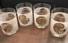 RARE Vintage Culver Gold Sea Shell Rocks Glasses Frosted Gold Beach Ocean Theme