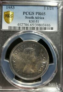 1953 South Africa 2.5 Shilling PCGS PR65 - Colorful Toning. Mintage 6000