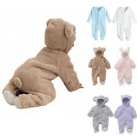 Newborn Baby Boys Girls Bear Romper Hooded Jumpsuit Bodysuit Clothes Outfit Suit