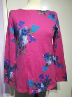 Joules Pink Floral Harbour Print Top Size 10 UK 100% Cotton Long Sleeved