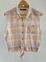 Sportsgirl Womens Size 12 Casual Semi-Sheer Multicolour Sleeveless Tie Front Top
