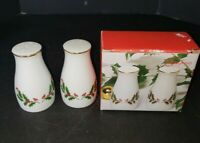 Fine China Japan Christmas HOLLY YULETIDE Salt & Pepper Shakers, Butter Dish