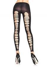 Shredded Back Footless Tights leg avenue 7331 black Goth ripped sexy hosiery