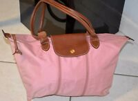 LONGCHAMP Expandable iconic zipper  PLIAGE  Tote Handbag Purse PINK tones