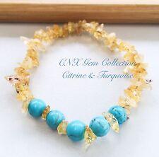 Gemstone Crystal Citrine ChipStone N Turquoise Beads Stretchy Bracelet
