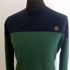 Springfield Mens Jumper Size 2XL Green Navy Blue Crew Neck Pullover Cotton