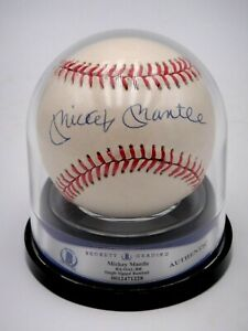 MICKEY MANTLE SIGNED & ENCAPSULATED BECKETT CERTIFIED BASEBALL AUTOGRAPHED HOF