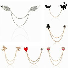 New Vintage Chain Tassel Blouse Shirt Collar Tip Pin Brooch Clip Cocktail