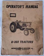Minneapolis Moline U302 Super Tractor Operator Manual Mm S 356