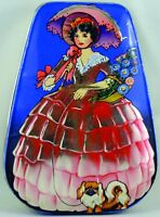 George W. Horner Chocolate Tin Box with a Woman holding Parasol Pekinese Dog VT
