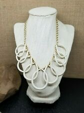 Gold Tone Cream White Enamel Loop Link Plastron Necklace 20""