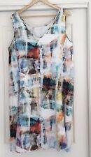 Blue Illusion Dress Size  Large L Pastel Print Great Condition Viscose