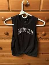 Adidas Knot Muscle Tank Top Small Black White Knotted Tie Front Active Nwot