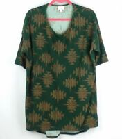 LULAROE IRMA Dark Green Geometric Print TUNIC TOP Knit SIZE L LARGE