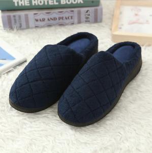 Men's Wool Plush Fleece Lined Slip on Memory Foam Clog House Slippers Outdoor