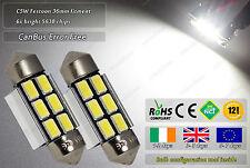 2x 36mm Festoon C5W LED CanBus No Error Free 6000K White License Plate Bulbs 12v