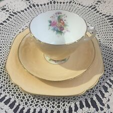 Coalport Sevres Embossed Soft Yellow Trio Cup Saucer Plate No.2