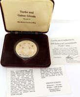 .1974 TURKS and CAICOS ISLANDS PROOF STERLING SILVER 20 CROWNS.