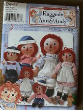 "SEWING PATTERN SIMPLICITY 9447 RAGGEDY ANN & ANDY 15 26 & 36"" DOLL CLOTHES UNCUT"