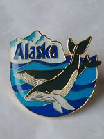 Alaska Lapel Hat Pin Whales Ocean Mountains Souvenir