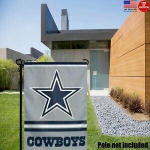 Dallas Cowboys 2 Sided Double Garden Flag Outdoor Window Banner 12 x18 New.