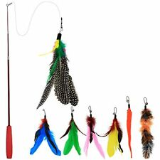 Bascolor Cat Toys Feather Teaser Wand 7 Refills Feathers Birds Worms Catcher New