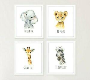 Set of 4 Jungle Animals Nursery Prints Elephant Lion Giraffe Zebra Quotes 619-A