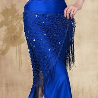 Belly Dance Hip Scarf Skirt Triangle Shawl Sequins Hollow Out Fish Net Dancewear