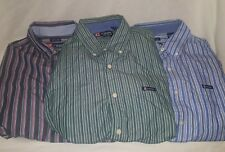 Lot of 3 CHAPS Mens Vertical Shirt L/S Striped Button Down Spellout SIZE Large L