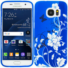 For Samsung Galaxy S7 Edge TPU Design Protective Soft Case Blue Butterfly F
