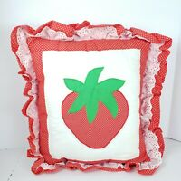 Vintage Strawberry Applique Throw Pillow Quilted Red Swiss Polka Dot Ruffled
