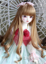 8-9 1/3 BJD Doll Straight Long Wig Hair Light Gray Natural Bangs Buckle Ends Ul1