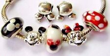 MINNIE MICKEY MOUSE PORTRAIT CHARMS Murano Glass POLKA DOTS HEADS .925 + POUCH