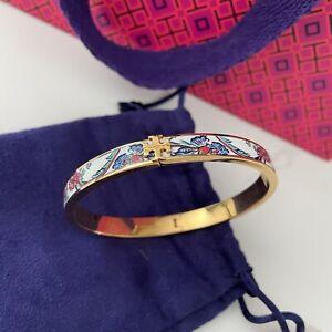 Tory Burch Kira Enamel Floral Printed Gold Bracelet