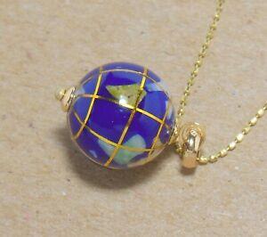 Vintage Michael Anthony 10K Gold inlay Gemstone World Globe Pendant Necklace