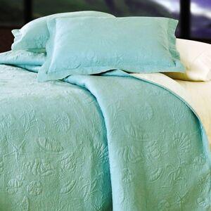 AQUA BLUE SHELL 3pc Full Queen QUILT SET : GREEN COTTON MATELASSE BEACH SHELLS